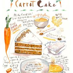 Poster recipe carrot cake, kitchen decor, print illustration of food, artwork bakery, Cake Illustration, Food Illustrations, Watercolor Illustration, Watercolor Food, Watercolor Paintings, Watercolour, Recipe Drawing, Colorful Wall Art, Colorful Crafts