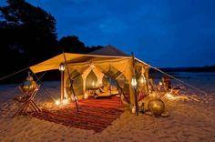 Romantic camping on the beach