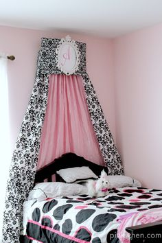 How to Make a Bed Crown Cornice via PinkWhen.com
