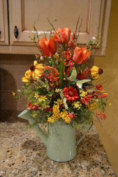 Spring Butterfly Arrangement in Watering Can by kristenscreations
