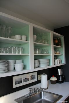 Open shelving painted mint inside