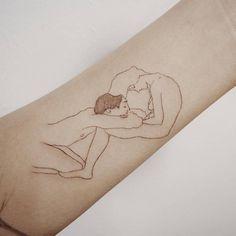 Egon Schiele inspired tattoo on the inner forearm.