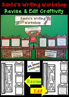 Editing and Revising Christmas Craftivity: Santa's Writing Workshop (Read the sentences on the gifts.  Revise some sentences, edit other sentences.)  $