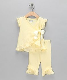Take a look at this Yellow Beignet Wrap Top & Pants - Infant by Blow-Out on #zulily today!