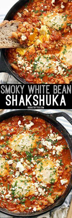 Smoky White Bean Shakshuka makes the BEST breakfast for dinner! BudgetBytes.com
