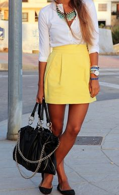 Cute summer outfit!!! Sub the yellow with an orange skirt