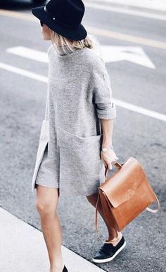 Dress: pattern grey black shoes hat brown bag new york city street style outfit office outfits