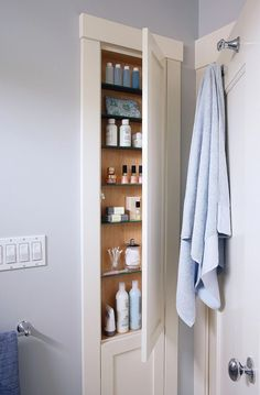 9 Bathroom Storage Solutions Cut down on clutter with these creative storage solutions for your bathroom. Bathroom Storage Solutions, Small Bathroom Storage, Laundry Room Storage, Bathroom Recessed Shelves, Bath Storage, Bathroom Renos, Bathroom Renovations, Bathroom Ideas, Shiplap Bathroom