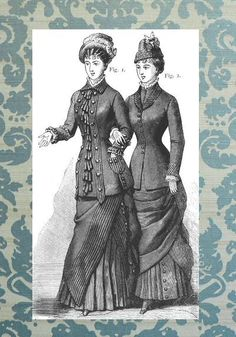 Vintage fashion illustration - Ladies' 1880 fashions