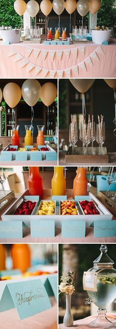 Mimosa bar for bridal shower.or just an idea for a mimosa brunch! Peach Baby Shower, Deco Buffet, Bar A Bonbon, Mimosa Bar, Bellini Bar, Sangria Bar, Mimosa Punch, Birthday Brunch, 20 Birthday