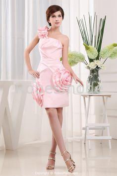 Robe de soirée courte avec traîne watteau démontable décorée de fleurs à la main € 132.99