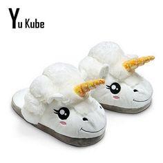 405ce1489445c 2016 Unisex Unicorn Cotton Home Slippers Chausson Licorne Indoor Shoes  Pantoufle Licorne