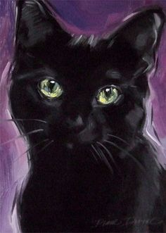 Black Cat at Twilight Original Oil Painting by Diane Irvine Armitage.  PaintingsFromTheParlor.Blogspot.com