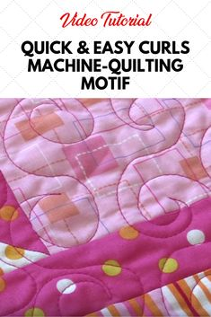Learn a quick and easy free-motion machine quilting design you can use as an overall motif on just about any quilt. Video Tutorial from Laura of Sew Very Easy. Quilting For Beginners, Sewing Projects For Beginners, Quilting Tips, Quilting Tutorials, Longarm Quilting, Quilting Projects, Sewing Tutorials, Sewing Ideas, Machine Quilting Patterns