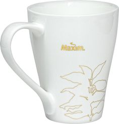Korean Dongsuh MAXIM Logo Coffee Tree Pattern White Tea Mug Cup #Maxim