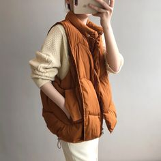 Loose sleeveless waistcoat cotton vest | Down Vest, Puffer Vest, puffer outfit Cotton Vest, Vest Outfits, Duck Down, Down Vest, Classy Chic, Types Of Collars, Winter Jackets, Casual, Silhouette