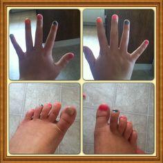 Super cute summer mix-match mani/pedi. Smelly nail polish from justice.