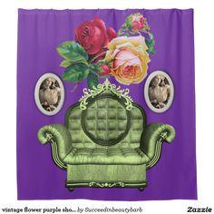 vintage flower purple shower curtain