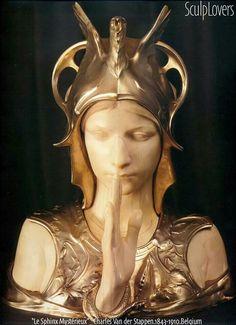Art Nouveau Le Sphinx Mystérieux Bust by Charles van der Stappen Art Nouveau, Bronze Sculpture, Sculpture Art, Metal Sculptures, Le Sphinx, Academic Art, Arts And Crafts Movement, Female Images, Installation Art