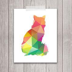 8x10 Geometric Print, Cat Art Print, INSTANT DOWNLOAD