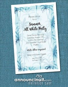 A background of watercolor painted palm trees in shades of blue, perfect for end of summer all white party invitations, dinner party invitations, wedding rehearsal dinner invitations, retirement party invitations, birthday party invitations and more, just change the wording to fit your occasion. Available in gold and green, too. See all our unique party invitations for all occasions at Announcingit.com