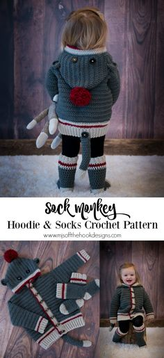 93cdfdf96b4 How to Crochet Sock Monkey Hoodie. Sock Monkey PatternCrochet Baby ...