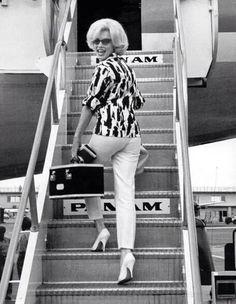 Marilyn Monroe Boarding a Pan Am Jet