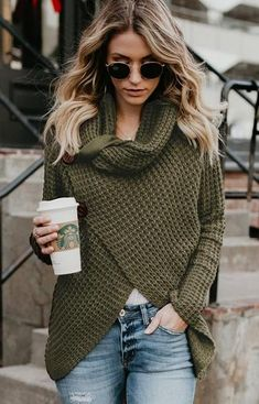 Knitwear Fashion Crossover European And American Sweater Green Sweater Outfit, Olive Green Sweater, Sweater Outfits, Olive Green Outfit, Green Cardigan, Casual Fall Outfits, Stylish Outfits, Cool Outfits, Fashion Outfits