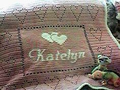 #Crochet Name #Blanket - done in tapestry crochet or intarsia for the name and filet crochet for the heart edging. | Personalized Baby Afghan by crochetkim2, via Flickr