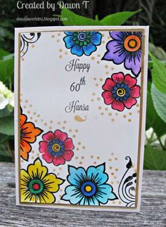Commissioned card for a Birthday. Using Altenew Hennah Elements and Zig markers and an old Zig wink of Stella filled with water. Finished with some gold dots with a little stamp in the set and some Golden Glitz ink. File Decoration Ideas, Page Decoration, Frame Border Design, Page Borders Design, Art Hama, Hand Crafts For Kids, Art Postal, Hand Made Greeting Cards, Card Drawing