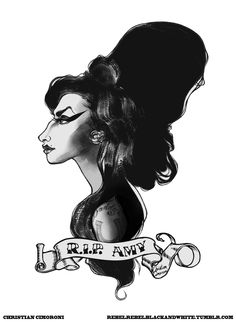 """""""Back To Black"""" In loving memory, Amy Winehouse tattoo vignette design illustrated by Christian Cimoroni. R.I.P Amy"""