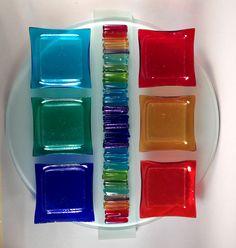 Rainbow Icicle Seder Plate II: Alicia Kelemen: Art Glass Seder Plate | Artful Home