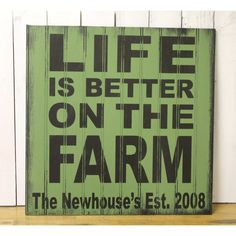 Life Is Better on the Farm sign/personalized/farm sign/established... ($28) ❤ liked on Polyvore featuring home, home decor, wall art, black, home & living, home décor, wall décor, wall hangings, personalized wood signs and painted wooden signs