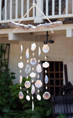 Driftwood Seashell Wind Chimes Handmade One-of-a-Kind Wind Chimes Natural Shells Beach House Decor Outdoor Mobile Sand Dollars Shells Seashell Wind Chimes, Diy Wind Chimes, Seashell Crafts, Beach Crafts, Diy Crafts, Crafts With Seashells, Seashell Decorations, Garden Crafts, Driftwood Sculpture