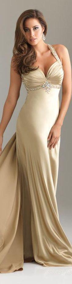 Sheath/Column V-Neck Halter Watteau Train Elastic Silk-like Satin Prom Dress in Tan. Dresses Short, Sexy Dresses, Prom Dresses, Sexy Gown, Bridesmaid Dress, Bridesmaids, Wedding Dresses, Elegant Dresses, Pretty Dresses