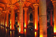 Underground Basilica cistern in Istanbul, Turkey. Featured in the James bond film called From Russia with love