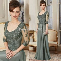 Elegant Mother Of The Bride Dress Floor Length Chiffon A Line Long Lace Evening Dresses With Three Quarter Sleeves Custom Made Long Mothers Dress, Mother Of The Bride Dresses Long, Mothers Dresses, Plus Size Formal Dresses, Unique Dresses, Evening Dresses With Sleeves, Evening Gowns, Evening Shoes, Bride Groom Dress