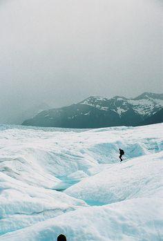 Lone Hiker on Perito Moreno, near El Calafate, Argentina. Photo by Walker Robbins