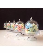Clear Mini Cake Stand Cupcake Favor Wedding Container Plastic Party Candy Box 12