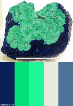 Malachite-azurite+(morenci,+Arizona,+Usa)+1+Color+Scheme Wax Studio, Arizona Usa, Malachite, Painted Rocks, Color Schemes, Palette, Colors, Poster, R Color Palette