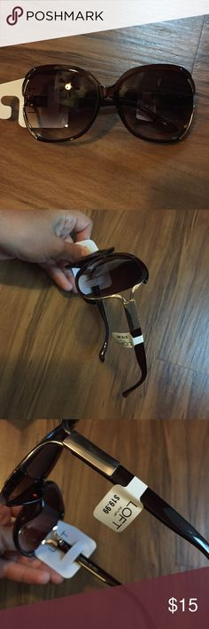NWT Ann Taylor LOFT Outlet Sunglasses NWT Ann Taylor LOFT Outlet Sunglasses, brand new. Brown glasses with gold Color side accents. LOFT Accessories Glasses