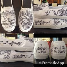 Calling all and alumni! These shoes are perfect for showing off and getting excited to go outside. Pick from 9 different choices and go show off those Harry Potter Shoes, Sharpie Shoes, Bell Design, Harry Potter Wedding, Marauders Map, Nerd Fashion, Vans Shoes, Designer Shoes, Custom Design
