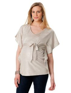 Motherhood Maternity: Loved By Heidi Klum Short Sleeve V-neck Sash Belt Maternity T Shirt $34.98