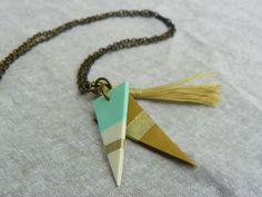 Double mint green, white and deep sparkle gold polymer clay triangles with soft beige Tassel dangle pendant necklace, lariat length by modernmelon on Etsy