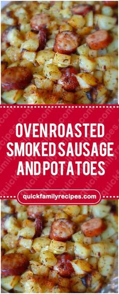 Oven Roasted Smoked Sausage and Potatoes #roasted #smoked #sausage #potatoes #easyrecipe #delicious #foodlover #homecooking #cooking #cookingtips Polish Sausage Recipes, Summer Sausage Recipes, Smoked Sausage Recipes, Smoked Sausages, Sausage And Potato Bake, Smoke Sausage And Potatoes, Sausage Casserole, Oven Potatoes, Cheesy Potatoes