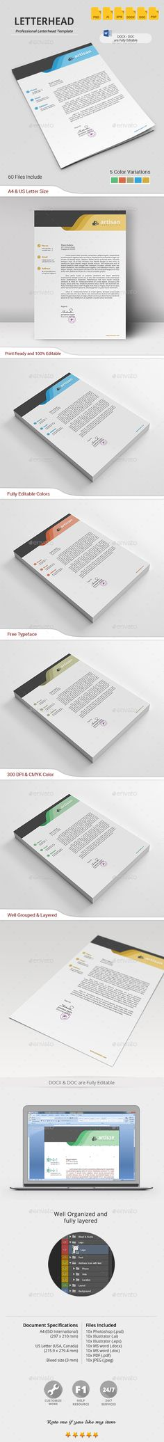 Buy Letterhead by artisanHR on GraphicRiver. Letterhead A simple unique letterhead for all kind of business and personal purpose usages. This file is easy to edi. Letterhead Business, Letterhead Design, Letterhead Template, Branding Design, Letter Templates, Print Templates, Design Templates, Form Design, Elements Of Design