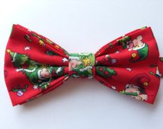 Christmas Elf Bow Tie, Holiday Bow Tie, Christmas Tree Bow Tie, Christmas Bow, Festive Bow Tie, Mens Christmas Bow Tie, Red Bow Tie, Bow Tie