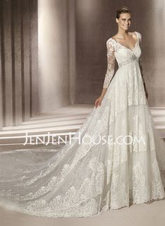 A-Line/Princess V-neck Cathedral Train Satin  Lace Wedding Dresses With Lace  Beadwork (002004758)