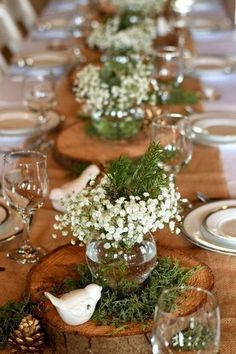 winter rustic wedding ideas---babybreath on the wooden slice on burlap table with botany and pine cones, diy wedding reception arrangement. wedding reception Winter Rustic Style Wedding Ideas To Steal Winter Wedding Receptions, Diy Wedding Reception, Rustic Wedding, Wedding Ideas, Wedding Unique, Wedding Venues, Wedding Week, Wedding Spot, Wedding Advice