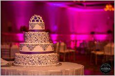 Beautiful purple cake structure.